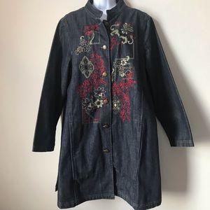 Units Woman Denim Embroidered Jean Jacket Coat